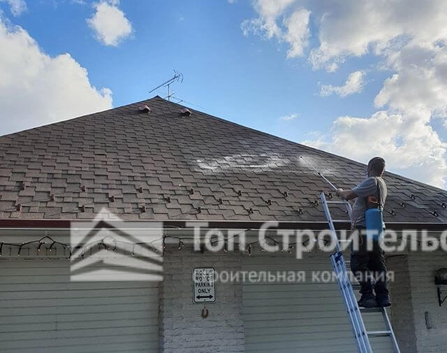 удаление мха с крыши фото